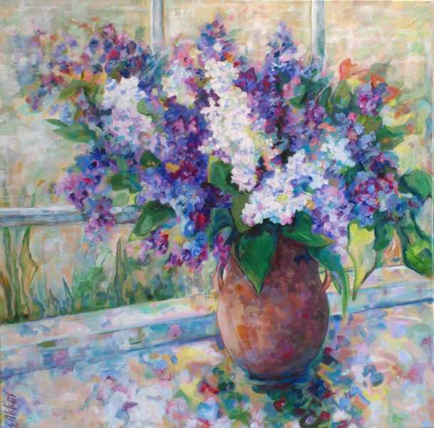 Lilacs in Clay Pitcher
